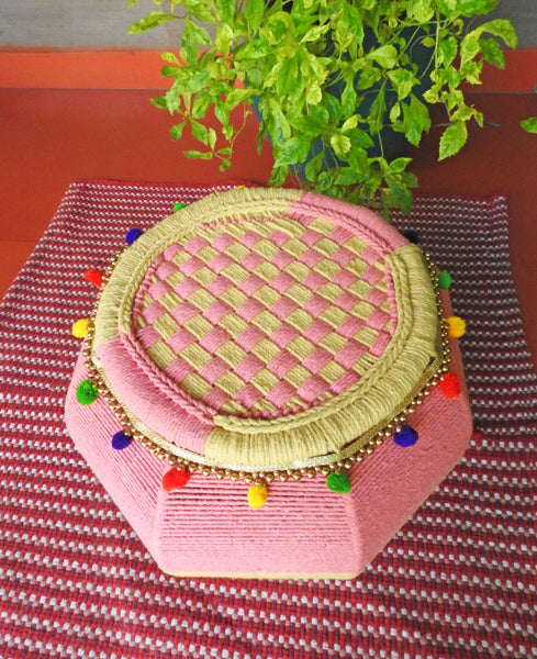 Pink Salt Embellished Mudda Seat (Single Piece)