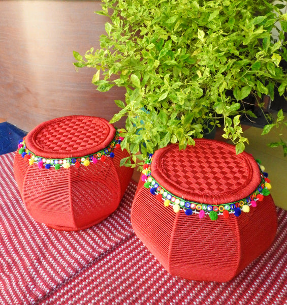 red-bamboo-pouffe-online-india