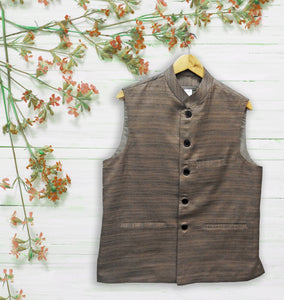 Men's Brown Khadi Silk Jacket