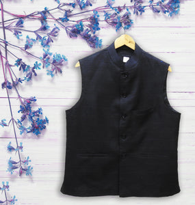 Men's Black Khadi Silk Jacket