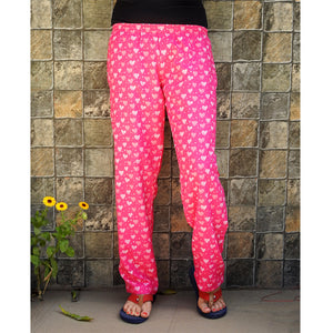 pink hearts print women's pajamas with pockets