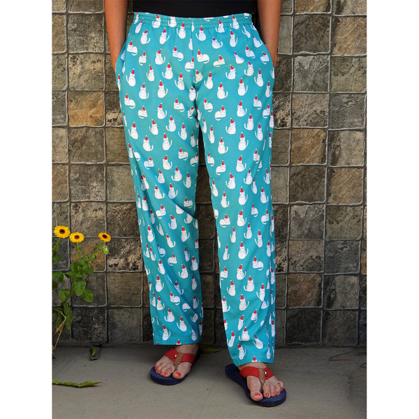 cat print blue pajamas with pockets for women