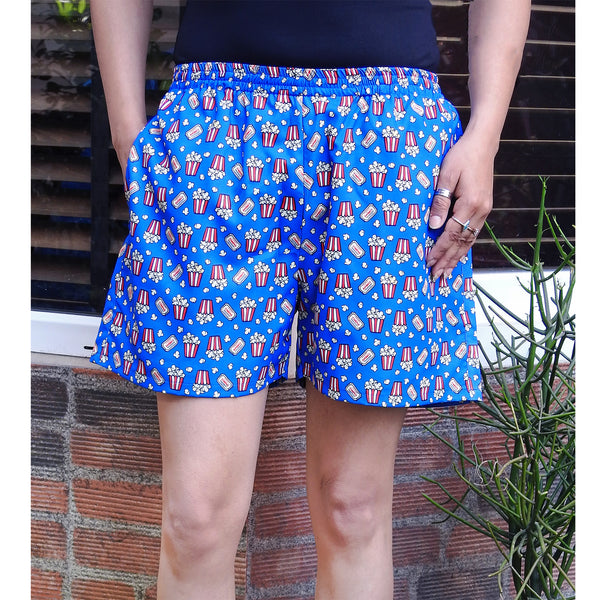 popcorn print shorts with pockets for women online