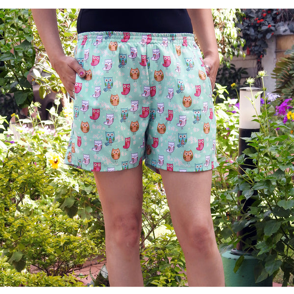 cute owl print shorts with pockets online  for women