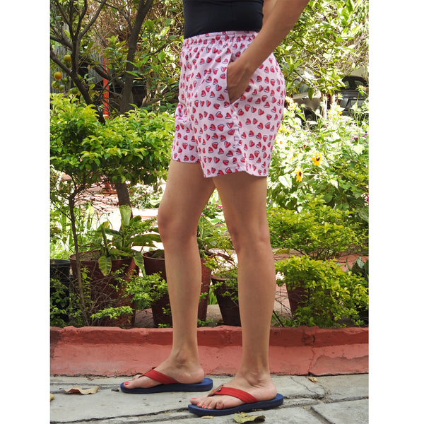 heart printed boxer shorts with pockets online