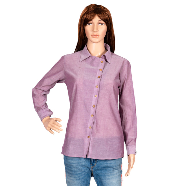 Lavender Shift Buttoned Up Shirt