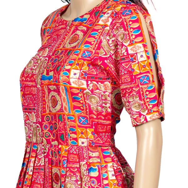 Luxe Tussar Countryside Print Dress
