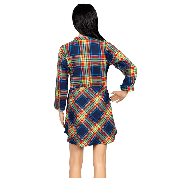 Vibrant Checkered Knee-Length Dress