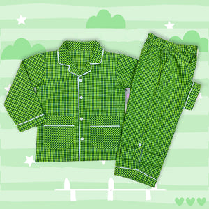 Green Checkered Boys Cotton Night Suit