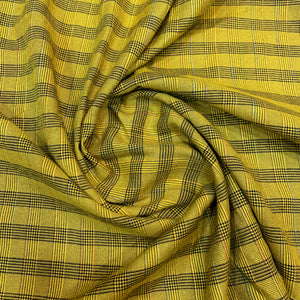 Olive Green Checkered Ultra Soft Cotton Fabric