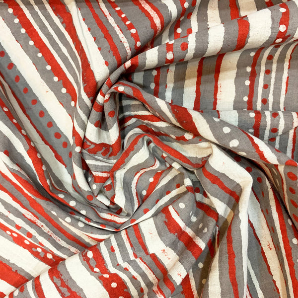 Slate Grey & Red Trendy Print Fabric