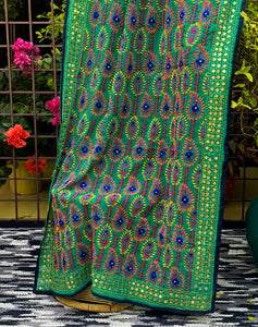 green-phulkari-dupatta-online-for-functions-India