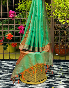green-silk-dupatta-with-orange-tassels-online