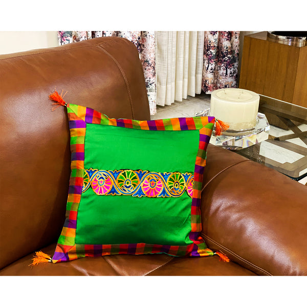 Festive Green Silk Cushion Cover With Colourful Border