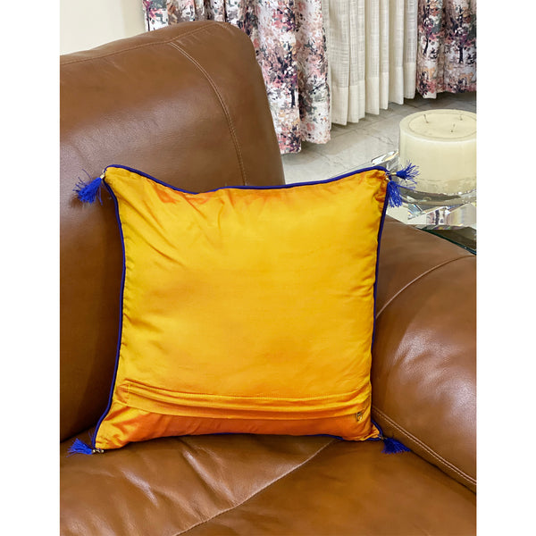 Festive Yellow Brocade Cushion Cover