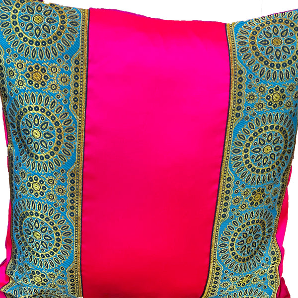 Bright Pink Silk Cushion Cover With Blue