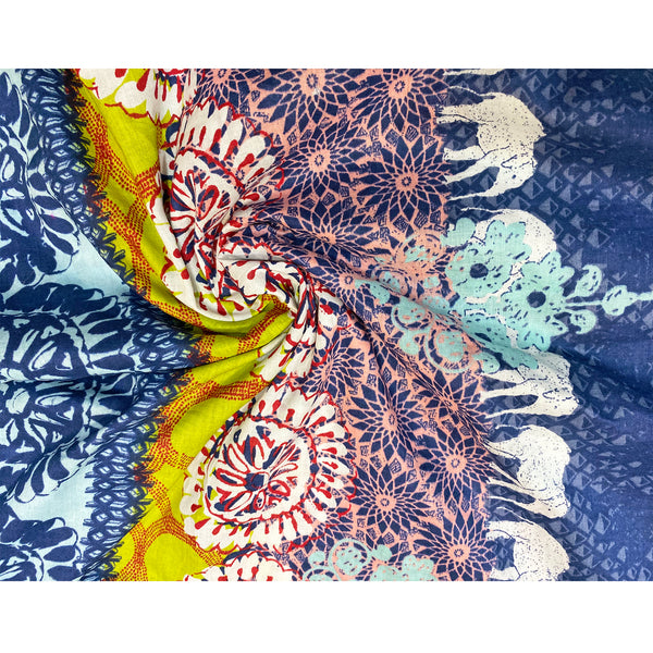 Printed Cotton Fabric With Elephant Border