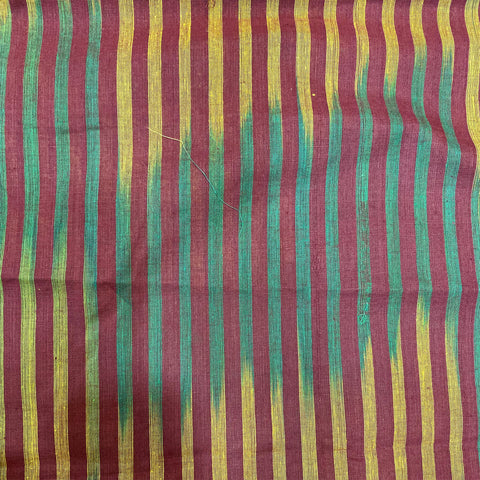 Green & Mustard Ikat On Maroon