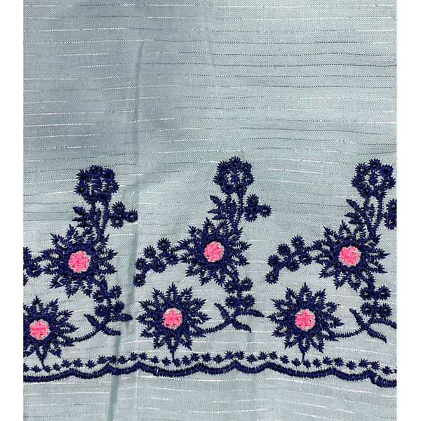 Light Blue Cotton Fabric With Embroidered Border