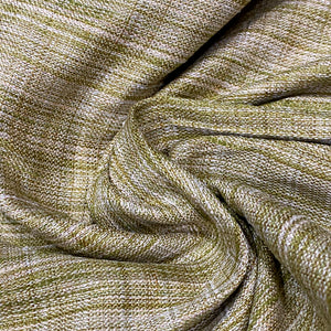 Fused Green & Ivory Handspun Cotton Fabric