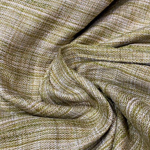 Fused Green & Ivory Khadi Fabric