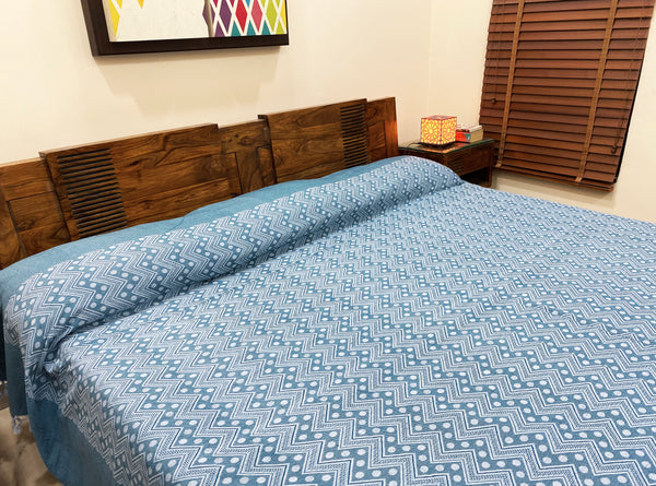 Blue & White Patterned Bed Cover