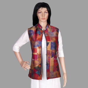 Square Print Colourful Assam Silk Jacket