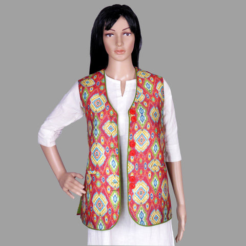 Traditional Ikat Printed Tussar Silk Jacket