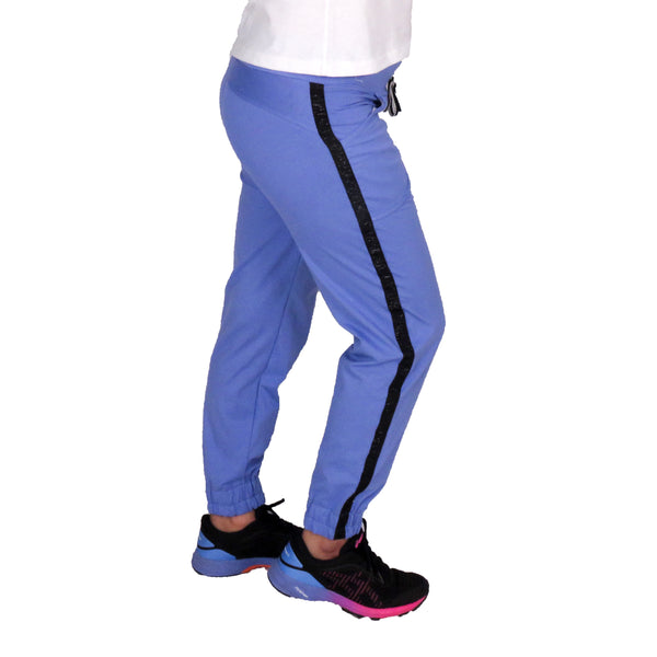 Purple Joggers With Side Stripe & Pockets