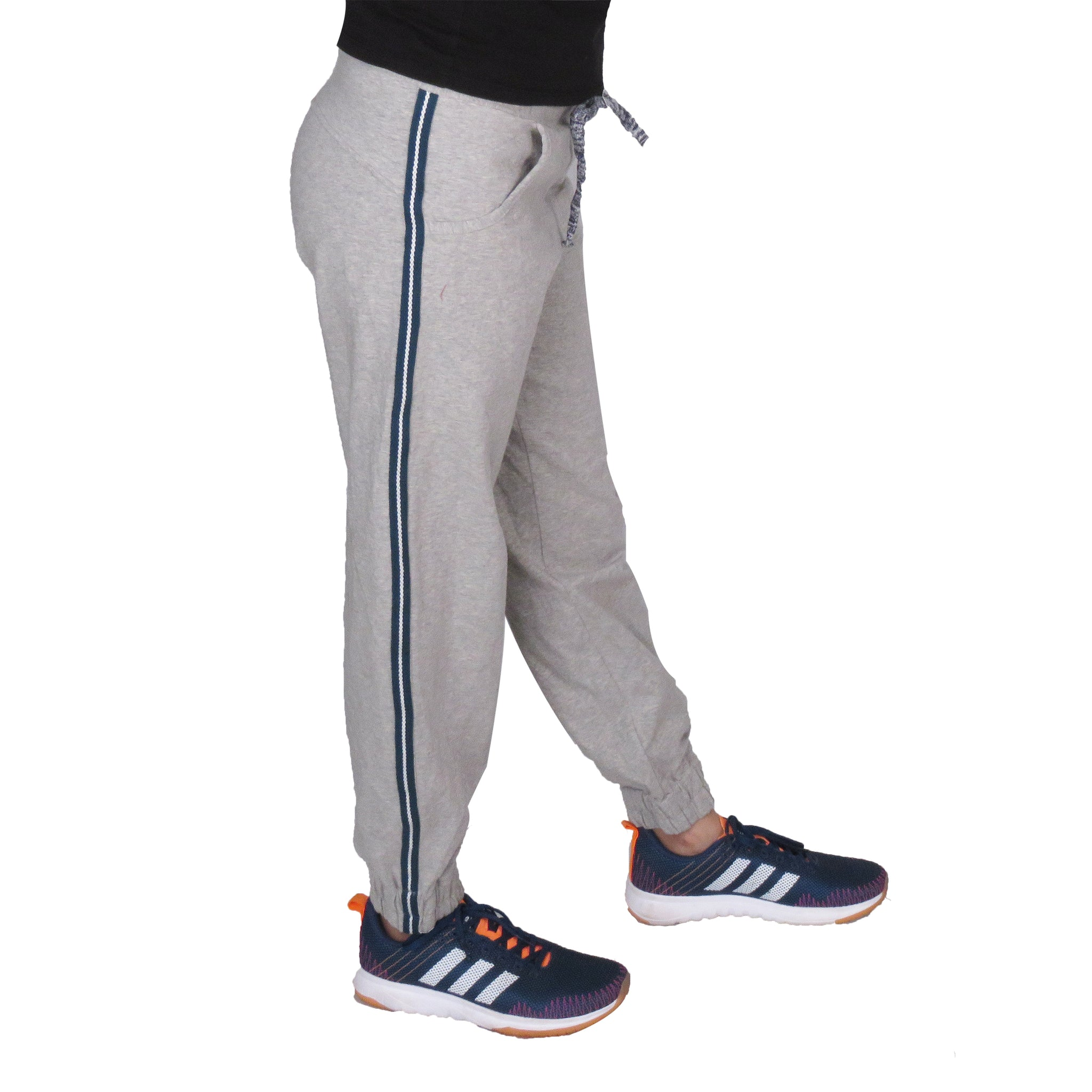 Grey Knitted Joggers With Blue Stripe & Pockets