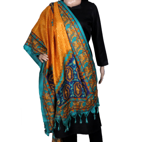 yellow and blue heavy silk dupatta online