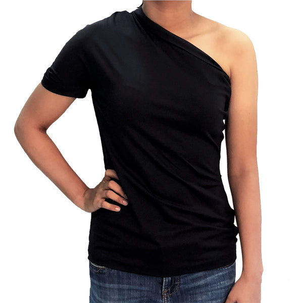 One Shoulder Midnight Black Top