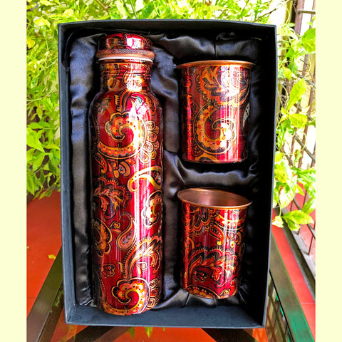 Intricate Pure Copper Bottle & Glass Set