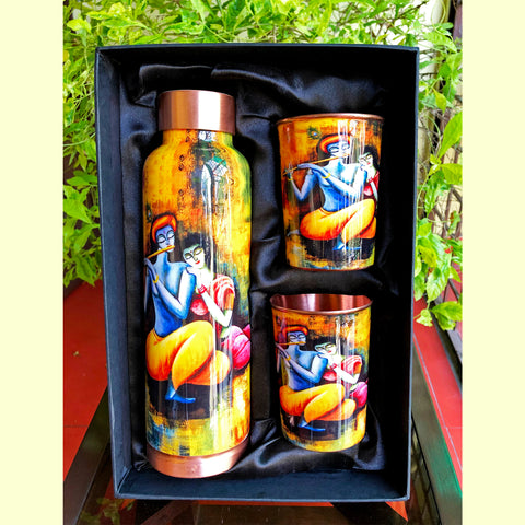 Radha Krishna Copper Bottle & Glass Set