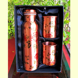 Kashmir Roses Copper Bottle & Glass Set