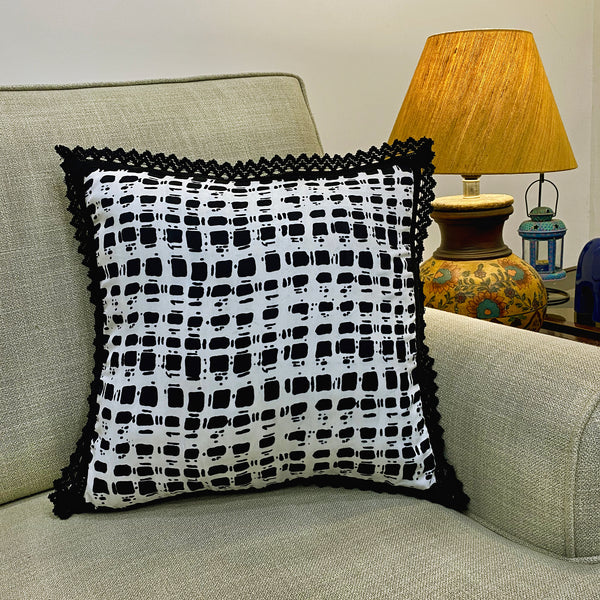 Black & White Cushion Cover With Lacework
