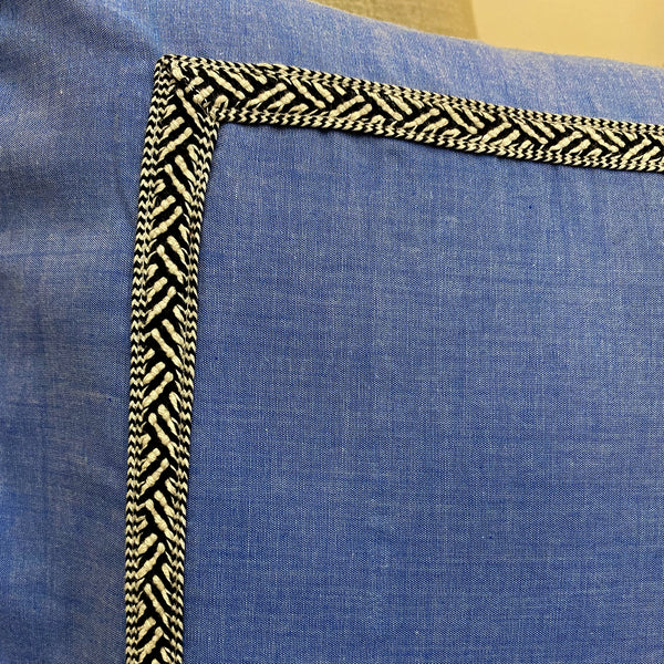 Slate Blue With Lacework Cushion Cover