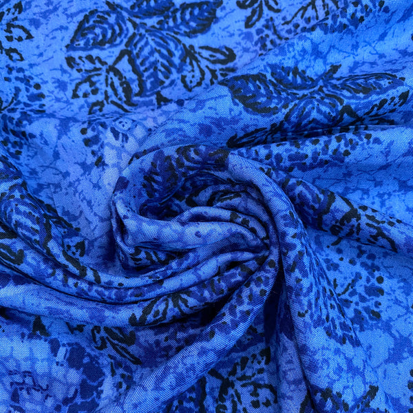 Mineral Blue Printed Rayon Fabric