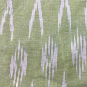 Pale Green Ikat Print Cotton Fabric