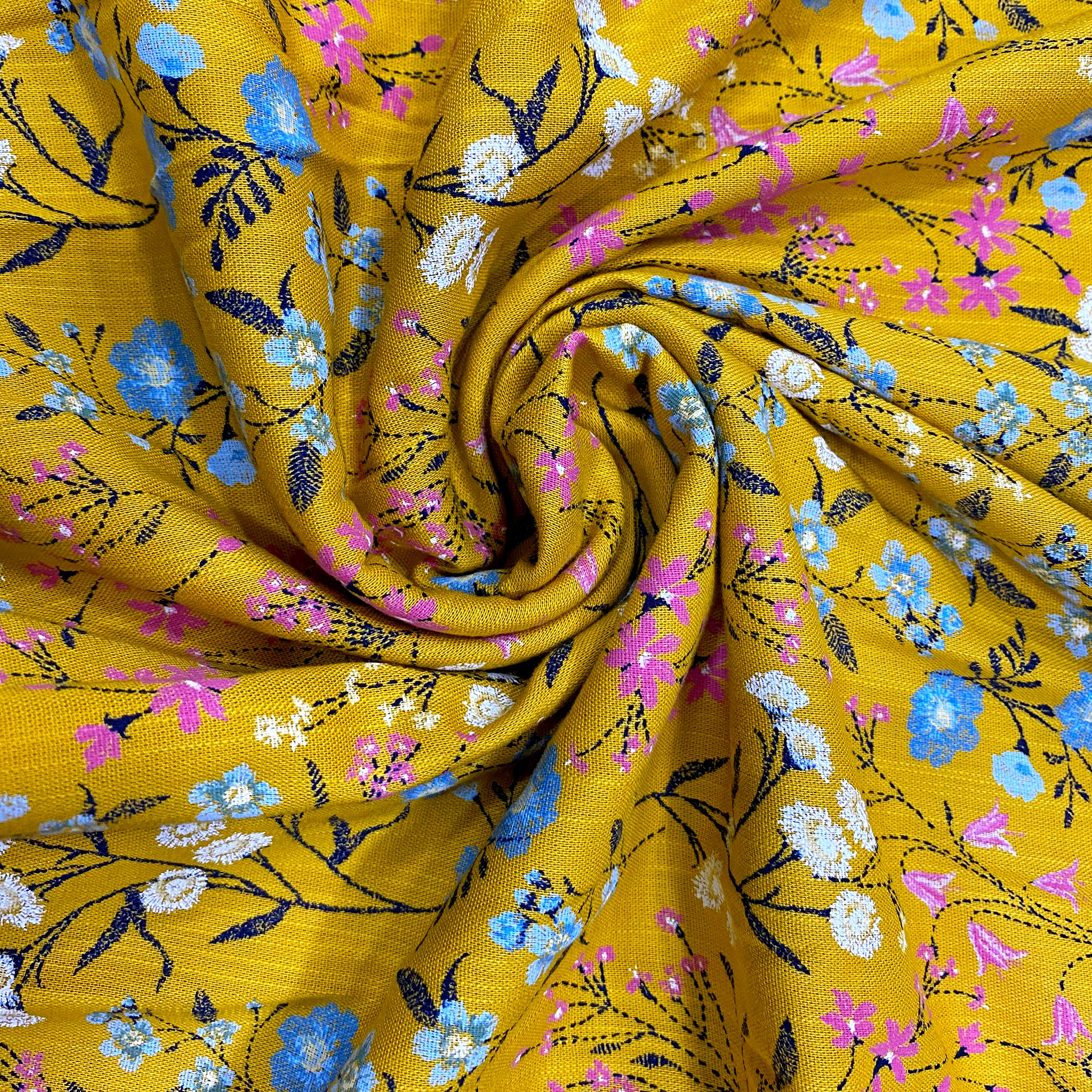 Mustard Floral Soft Rayon Fabric