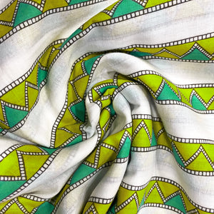 Summer Green Geometric Print Cotton Fabric