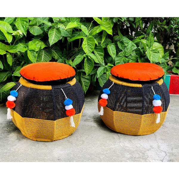 Black & Marigold Rattan Seats (Twin Set)