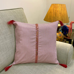 Mauve Checkered Cushion Cover