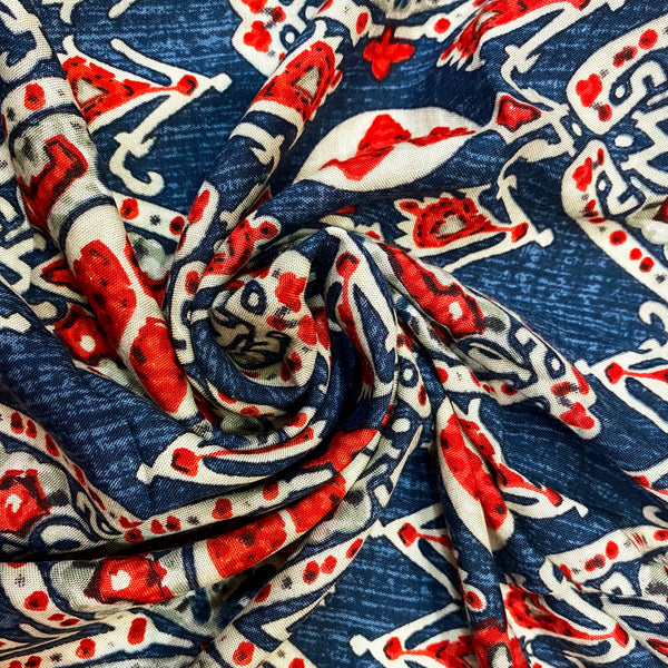 Red & Blue Printed Rayon Fabric