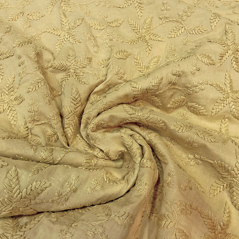 Mustard Embroidered Cotton Fabric