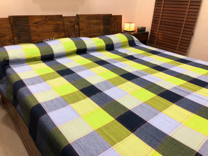 checkered bedcover handwoven cotton fabric