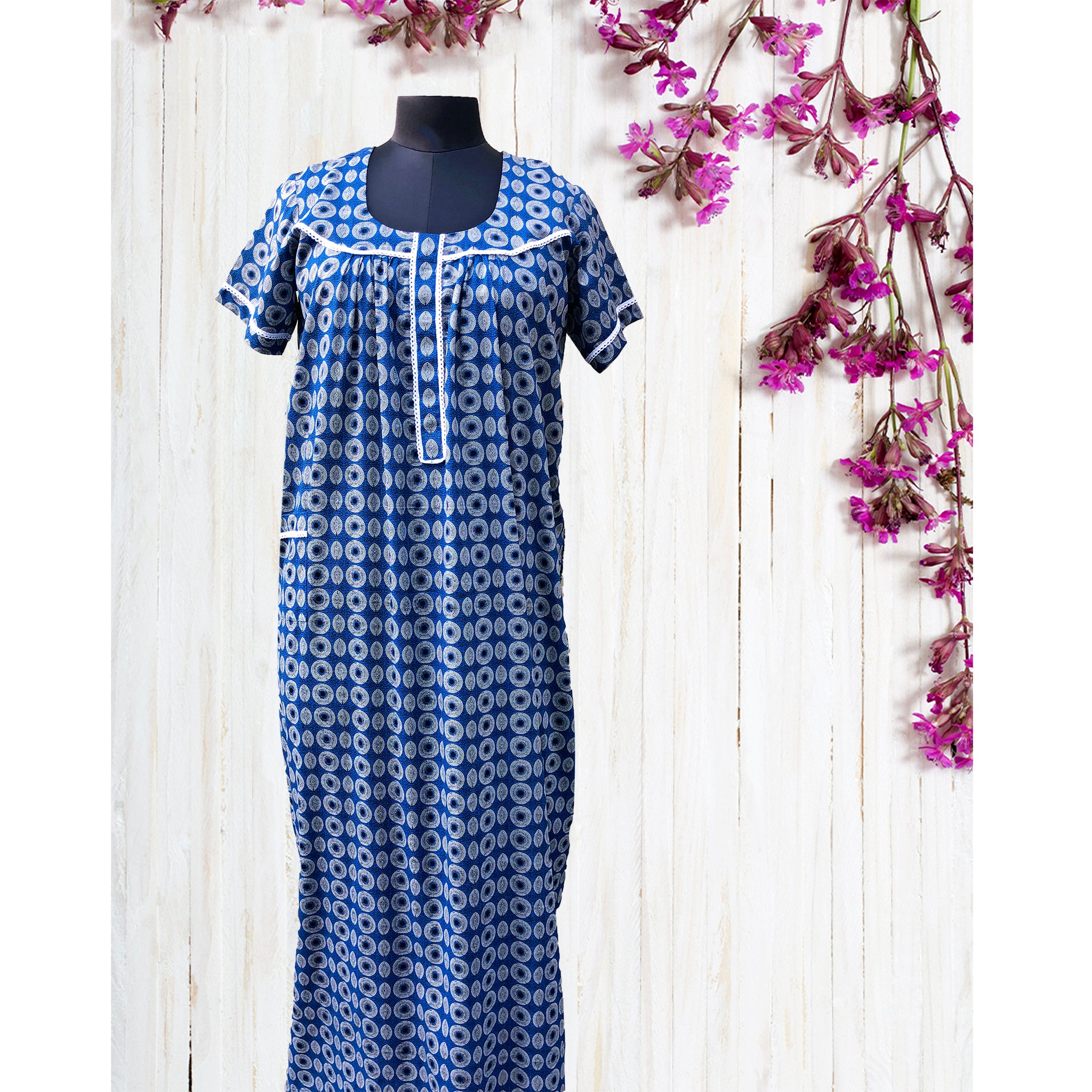 Trippy Blue Circular Night Dress