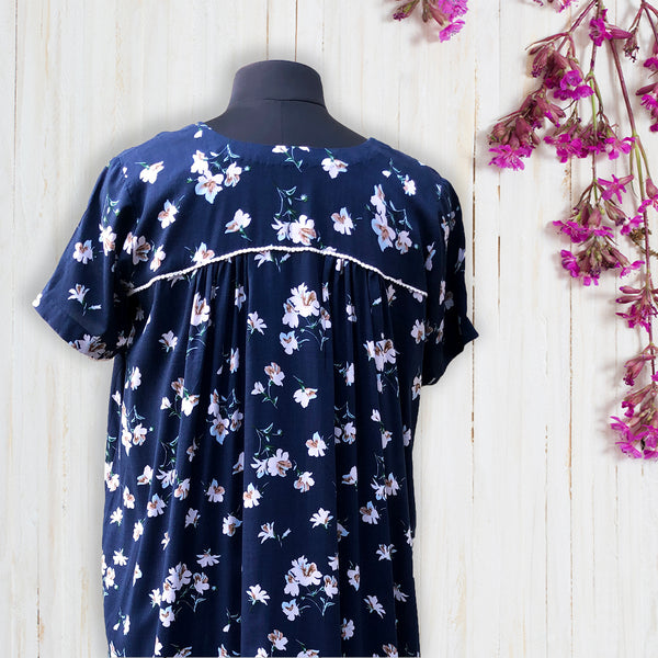 Navy Blue Floral Night Dress