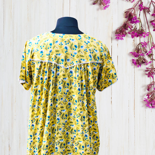 Sunny Yellow Floral Night Dress