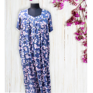 Slate Blue Floral Night Dress